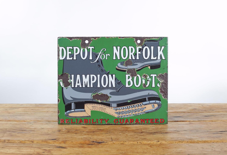 Depot for Norfolk Champion Boots enamel sign