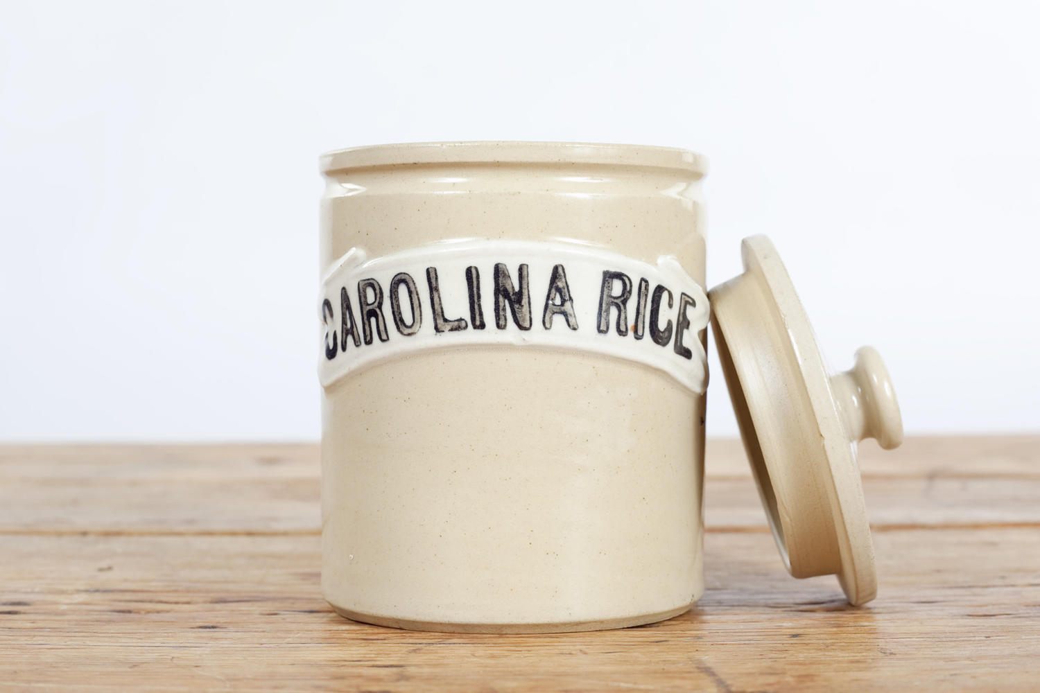 Denby Stoneware Carolina Rice storage jar.
