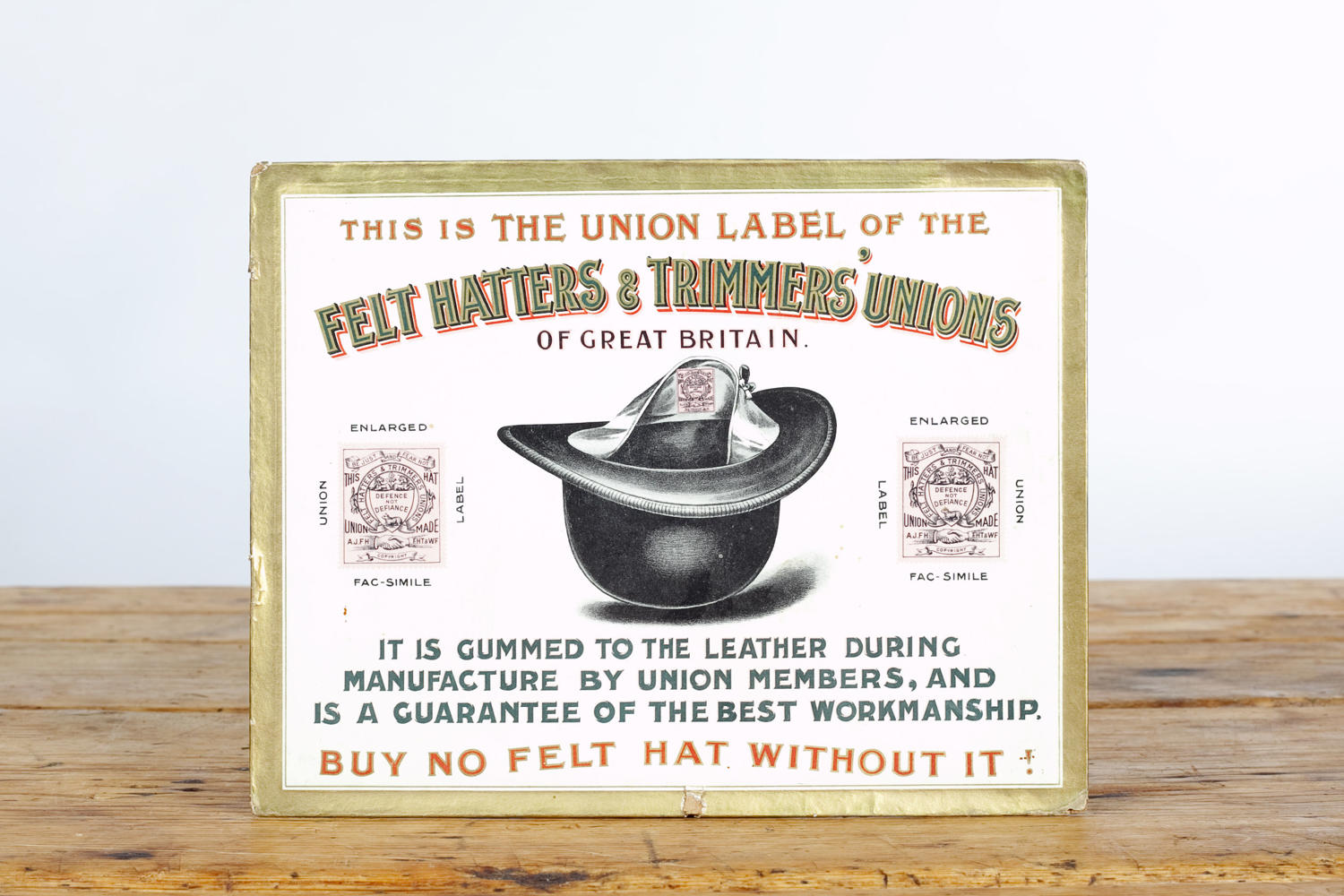 Antique showcard for the Felt Hatters and Trimmers' Unions.