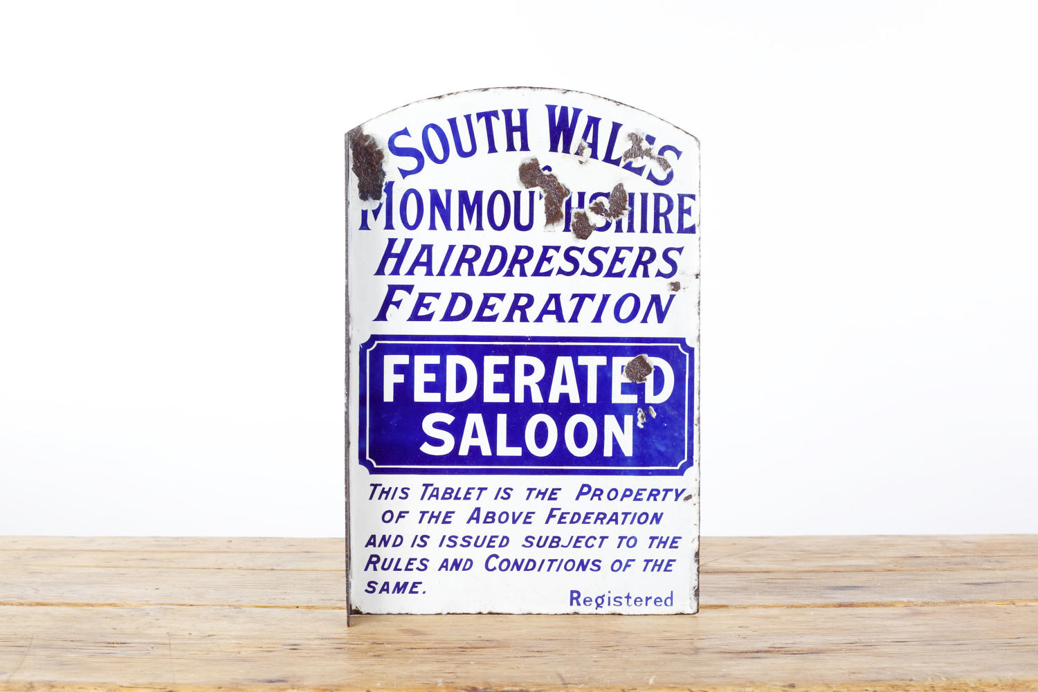 South Wales Hairdressers Federation enamel advertising sign