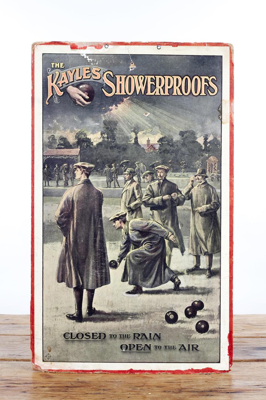 Original advertising showcard for Kayle's Showerproofs