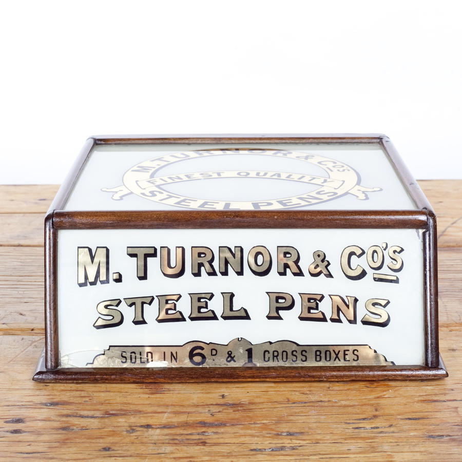 Early 20th century shop display cabinet for M Turnor & Co's Steel Pens