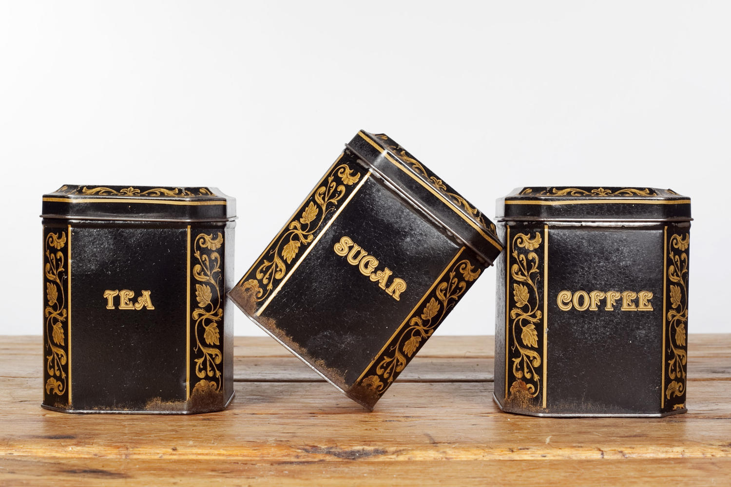 Tea, coffee and sugar toleware storage tins by Salter