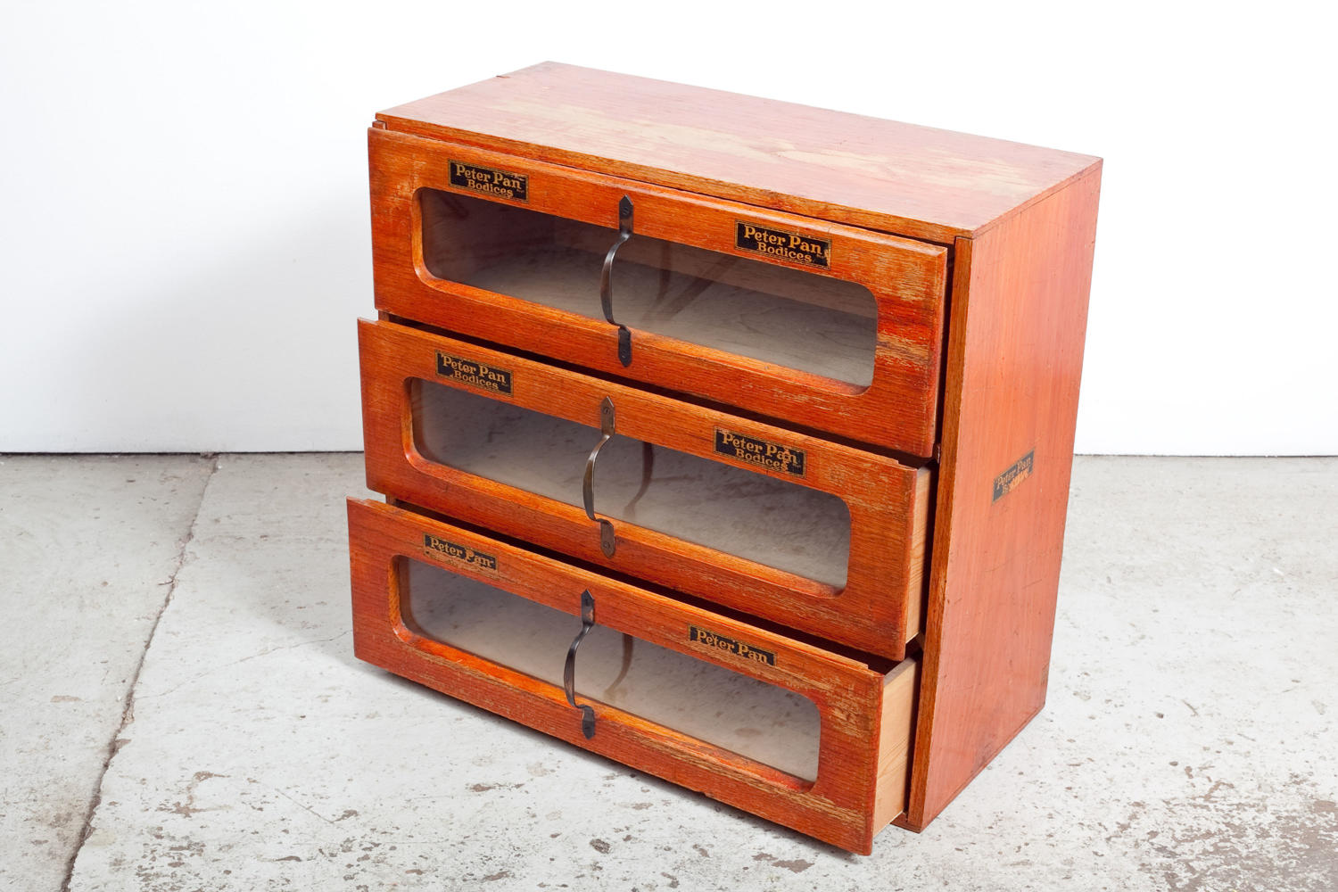 Haberdashery shop display cabinet for Peter Pan Bodices