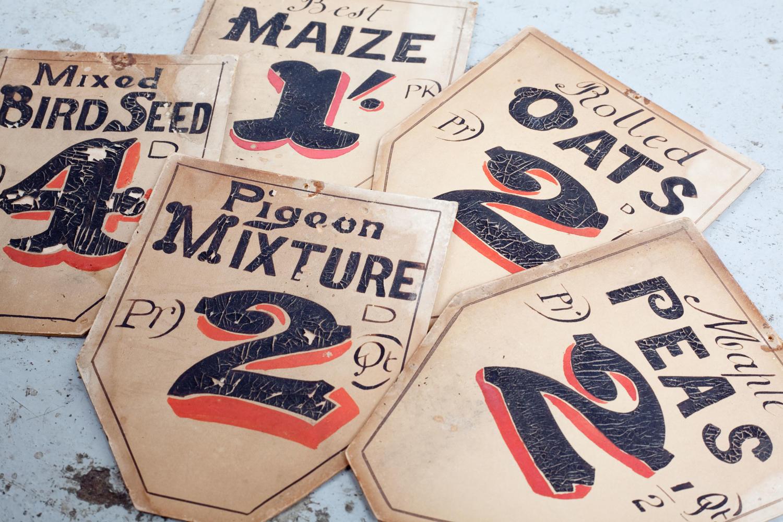 Vintage shop display price labels