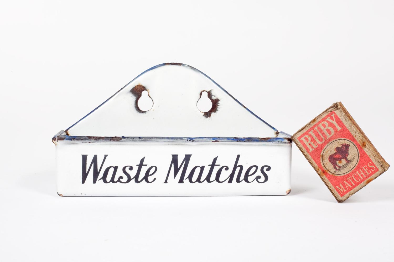Early 20th century enamel 'Waste Matches' bin