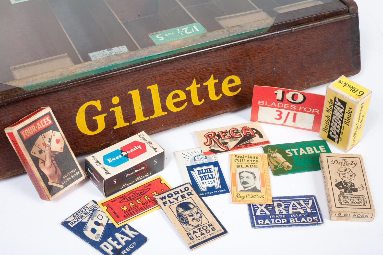 Barber shop display for Gillette razor blades.