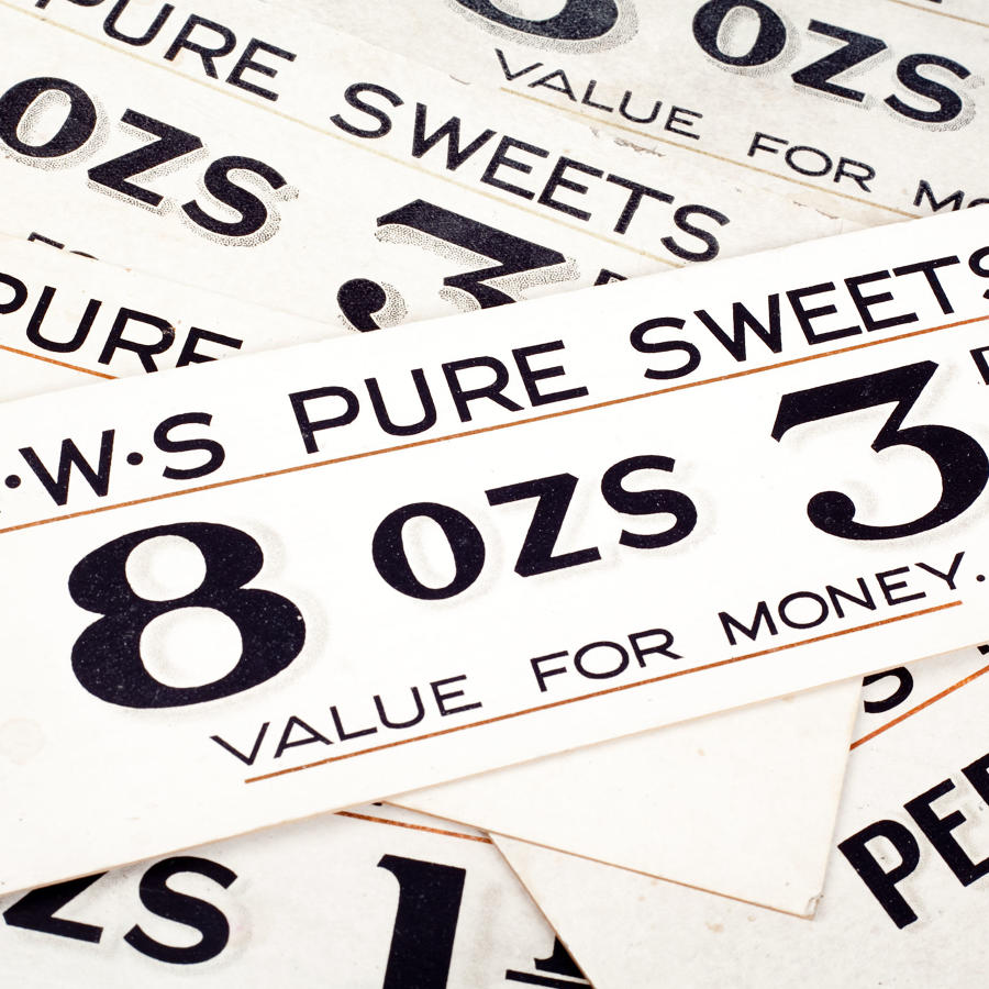 Vintage price labels for 'C.W.S Pure Sweets'