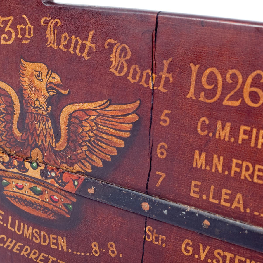 Hand painted rudder from Christ's College Cambridge Lent Boat 1926.