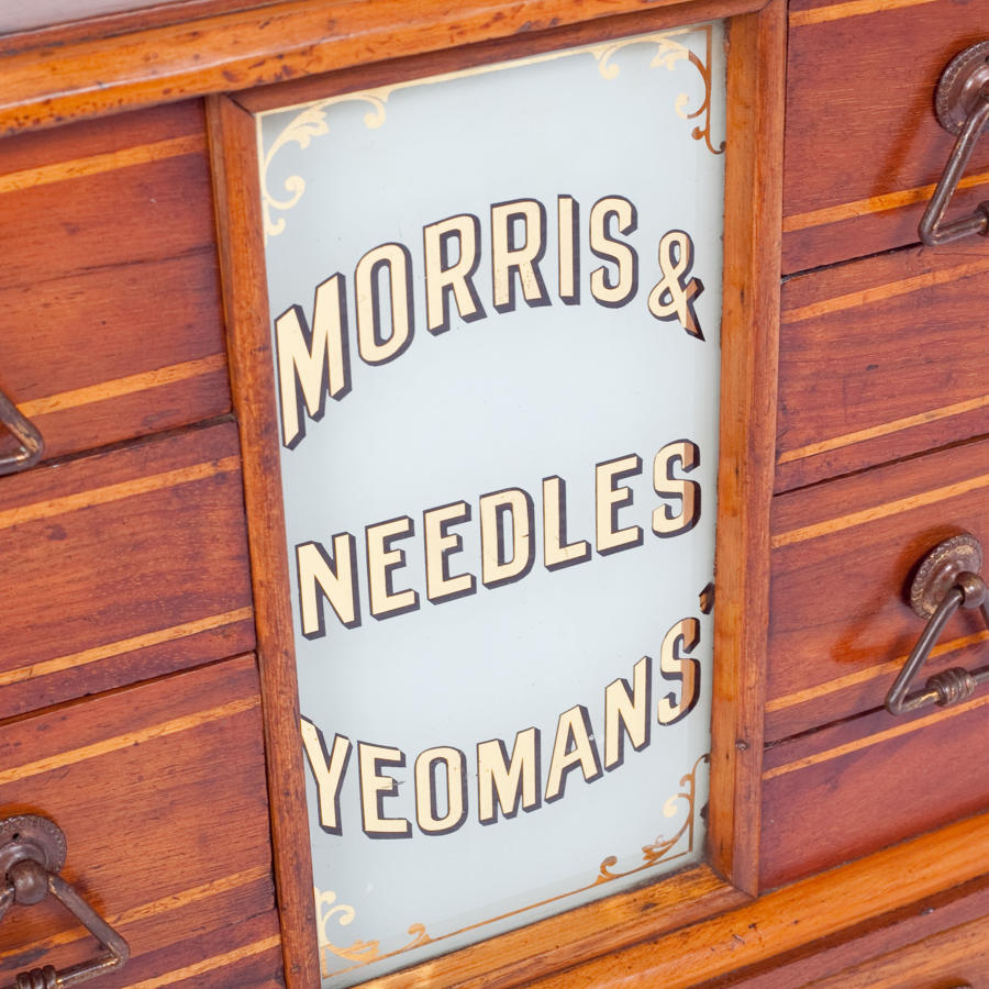 Shop counter display cabinet for Morris & Yeomans' Needles.