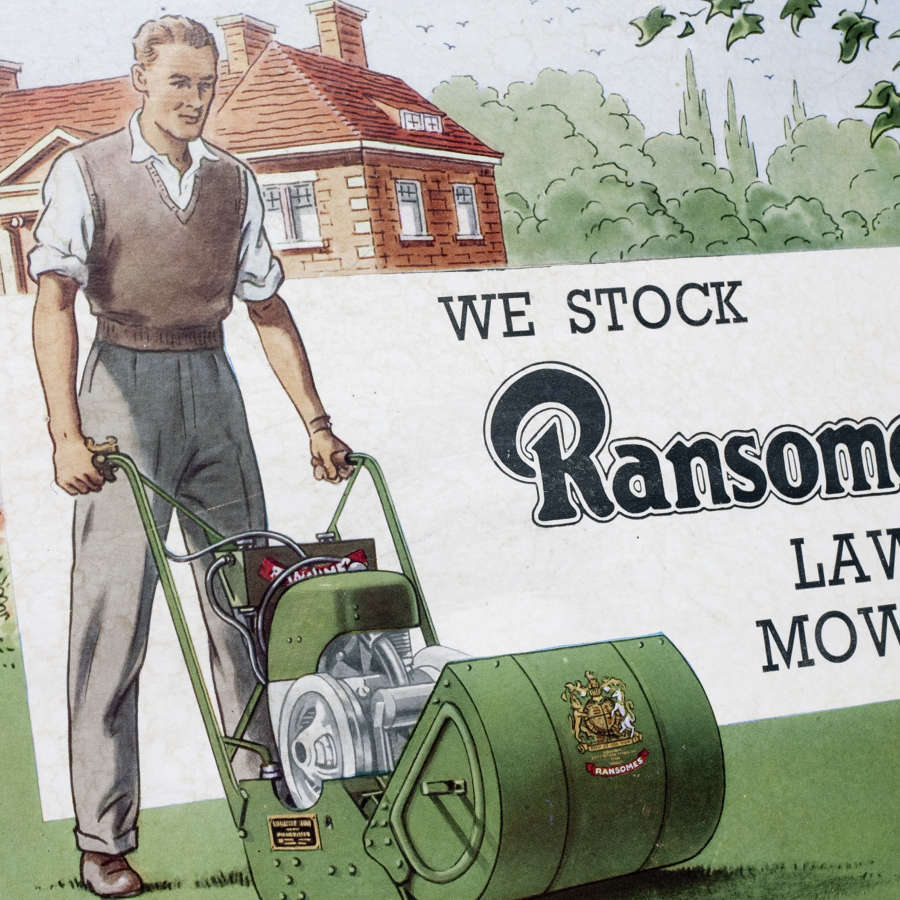 Original advertising showcard for Ransomes lawn mowers