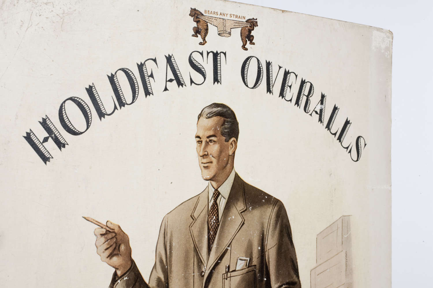 Original advertising showcard for Holdfast Overalls