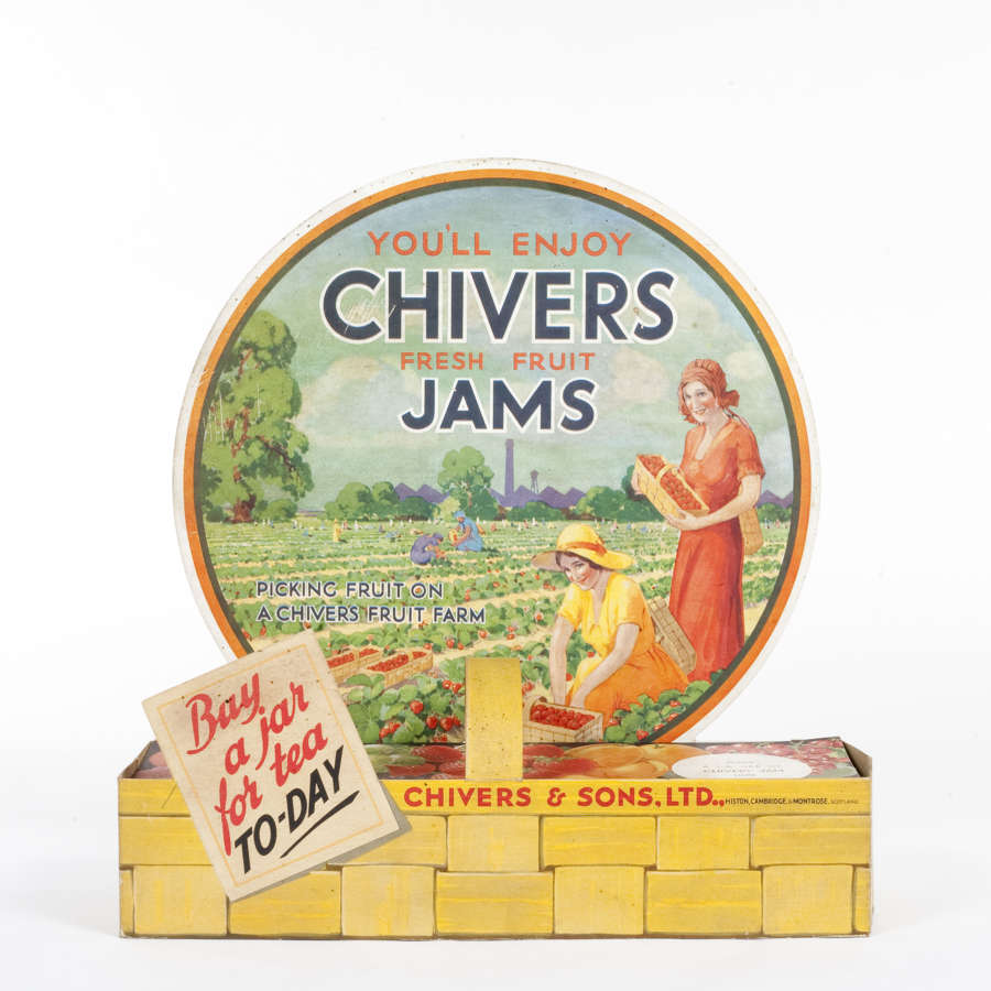 Original advertising showcard for Chivers fresh fruit jams