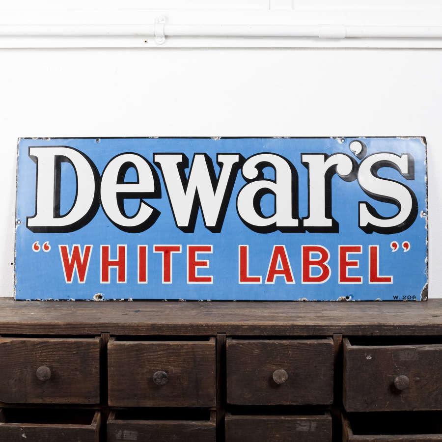 Original enamel advertising sign for Dewar's White Label Whisky