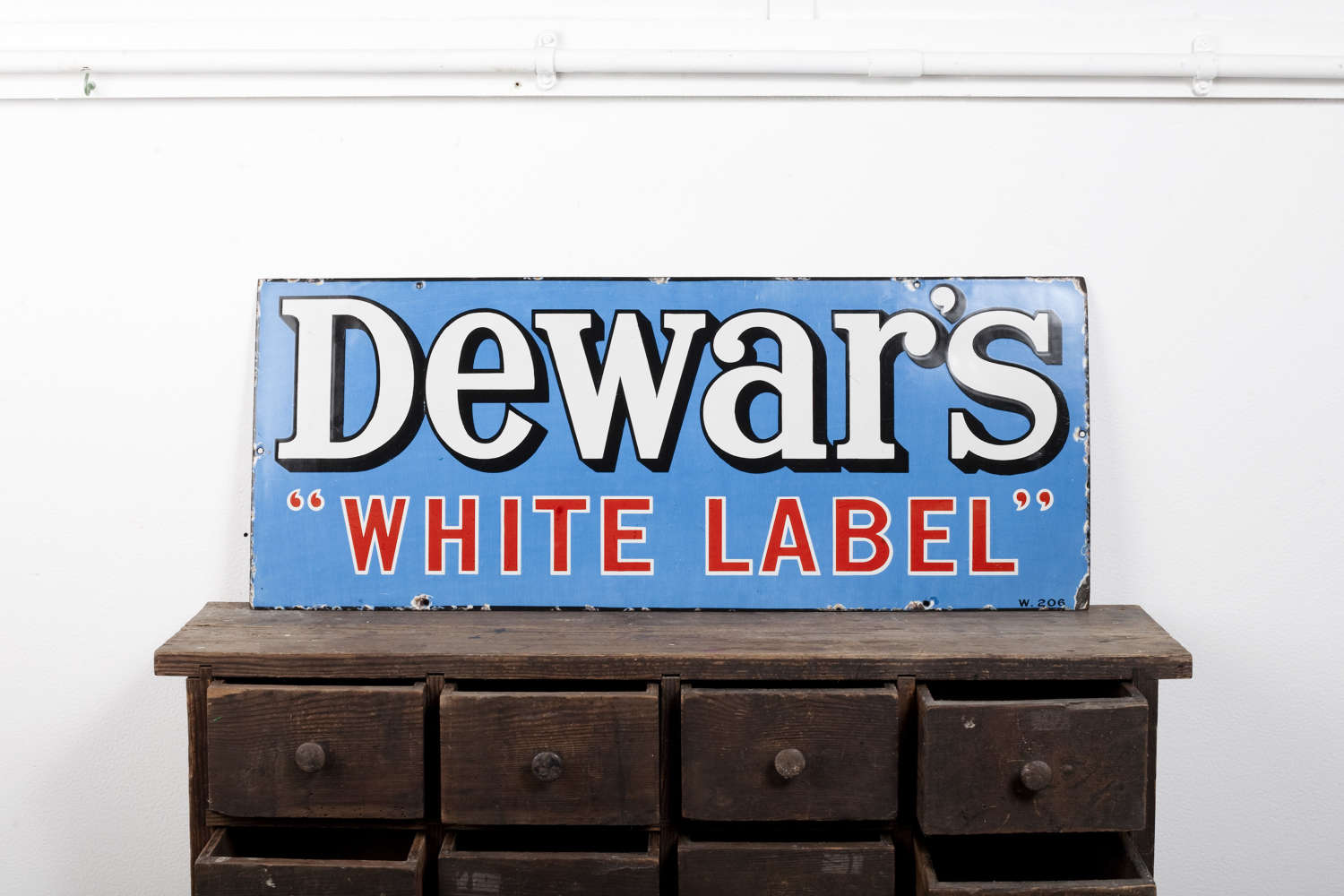 Original enamel advertising sign for Dewar's White Label Whisky