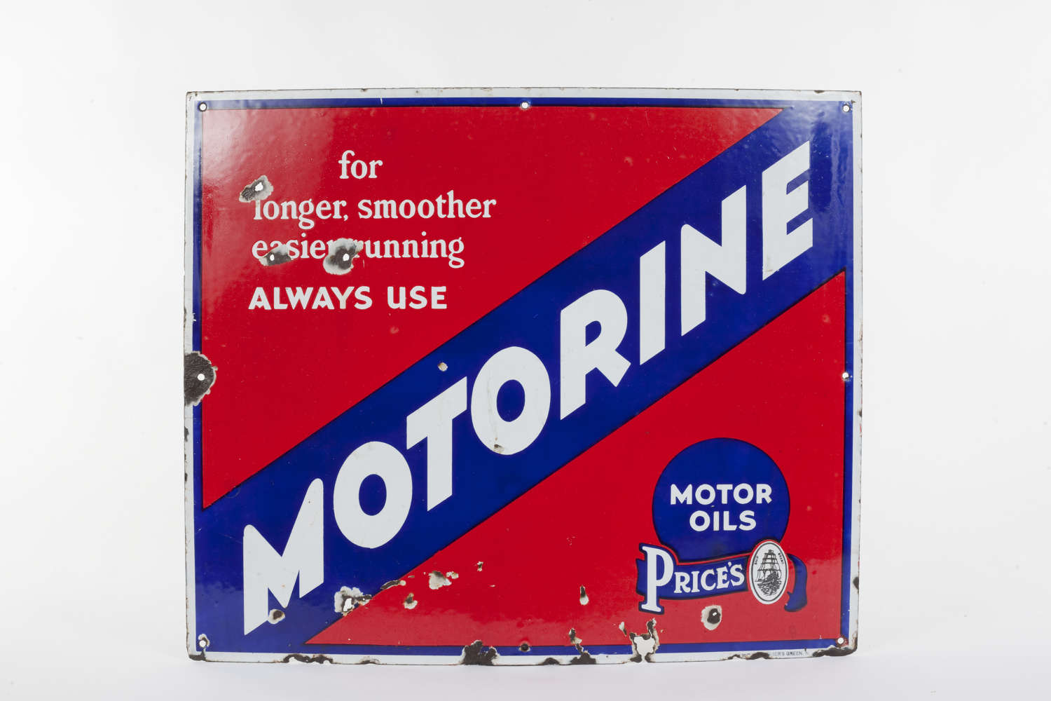 Original enamel advertising sign for Motorine