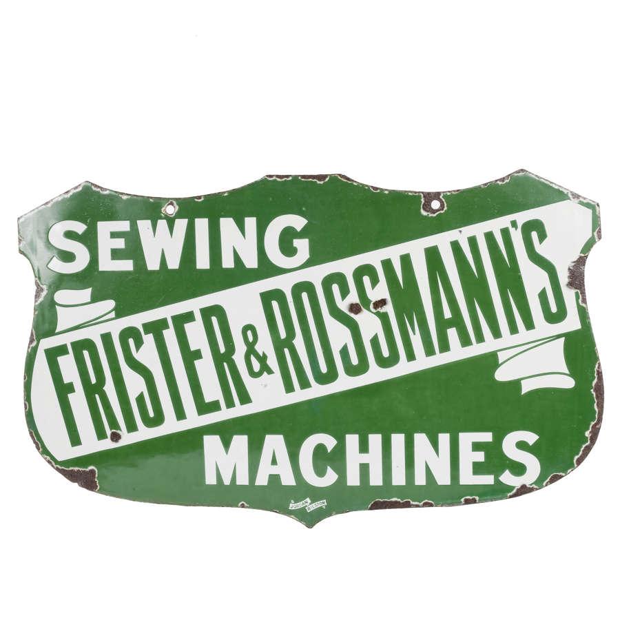 Original enamel sign for Frister & Rossmann's sewing machines