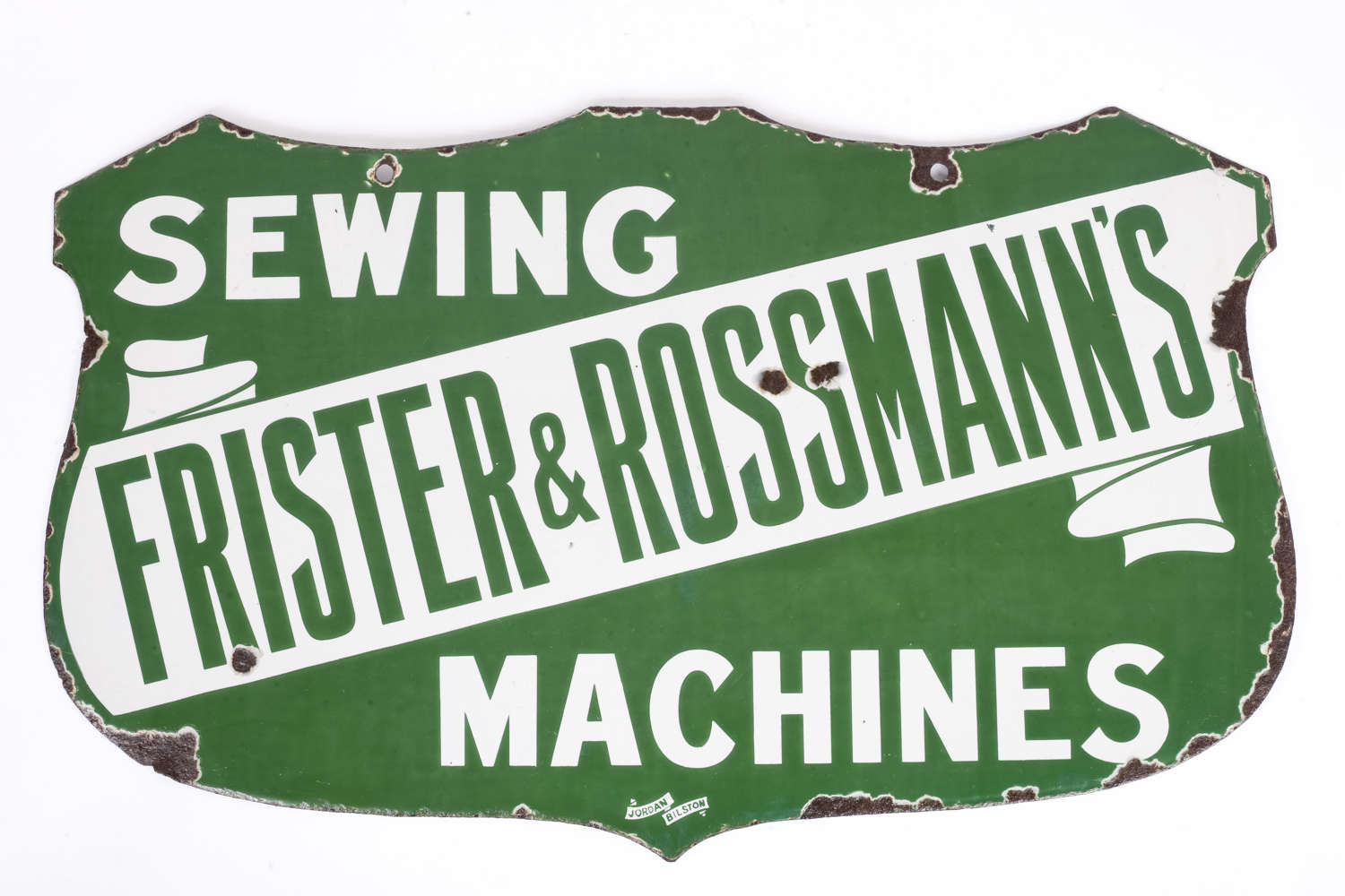 Original enamel sign for Frister & Rossmann's sewing machines