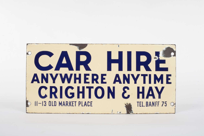Original enamel Car Hire advertising sign