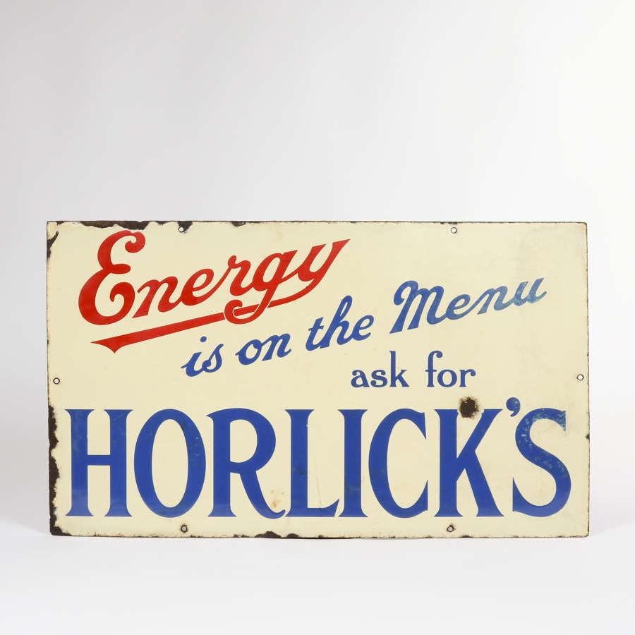 Origninal enamel advertising sign for Horlick's