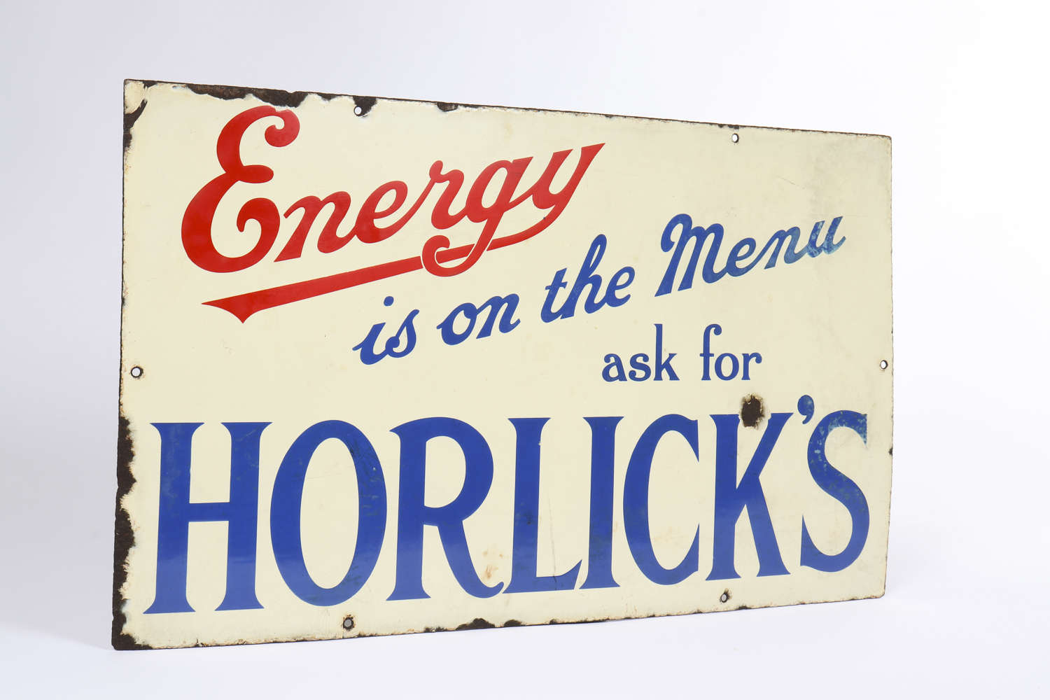 Origninal enamel advertising sign for Horlick's