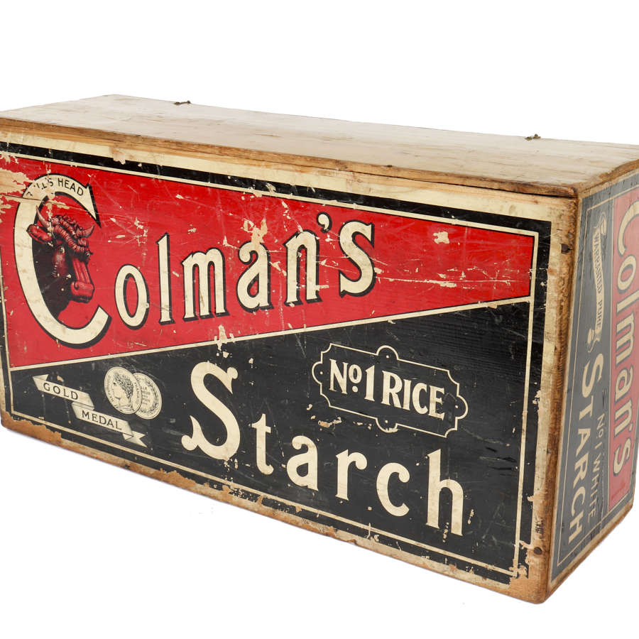 Wooden shop delivery and display box for Colman's Starch