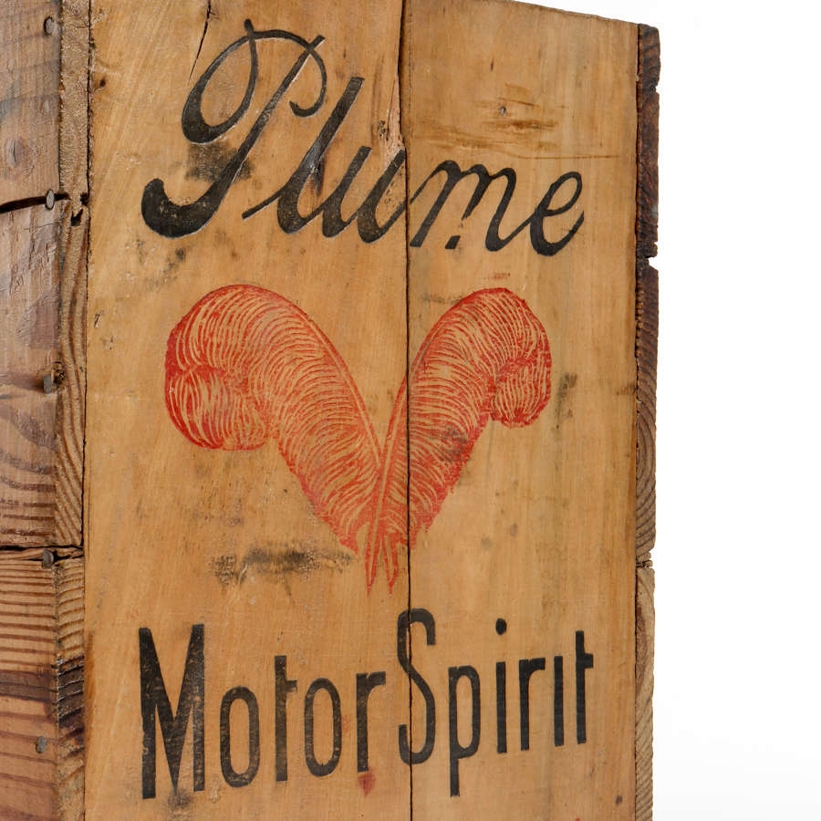 Vintage delivery box for Plume Motor Spirit by The Vacuum Oil Company