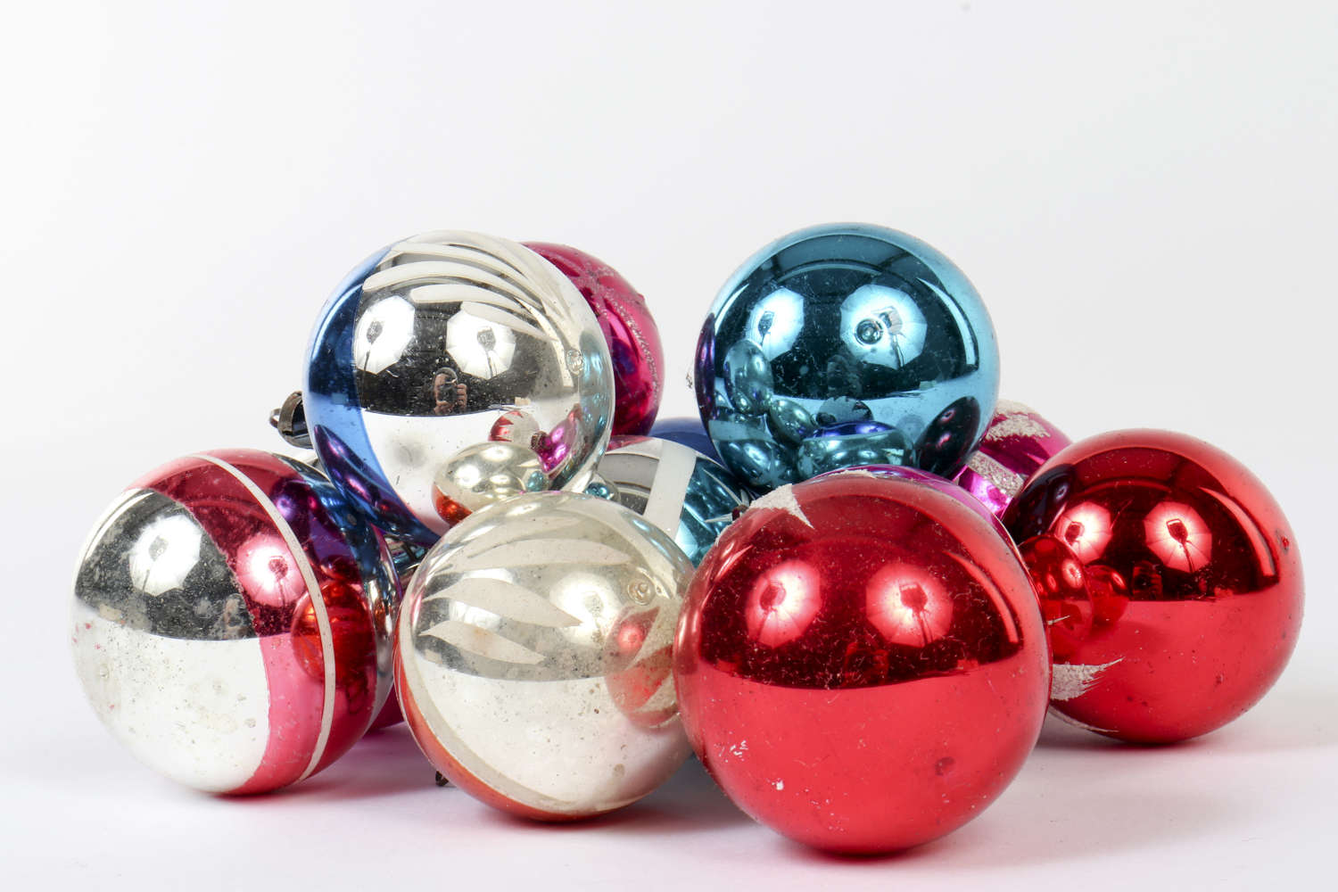 Twelve vintage Christmas baubles