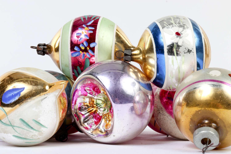 Twelve vintage Christmas baubles