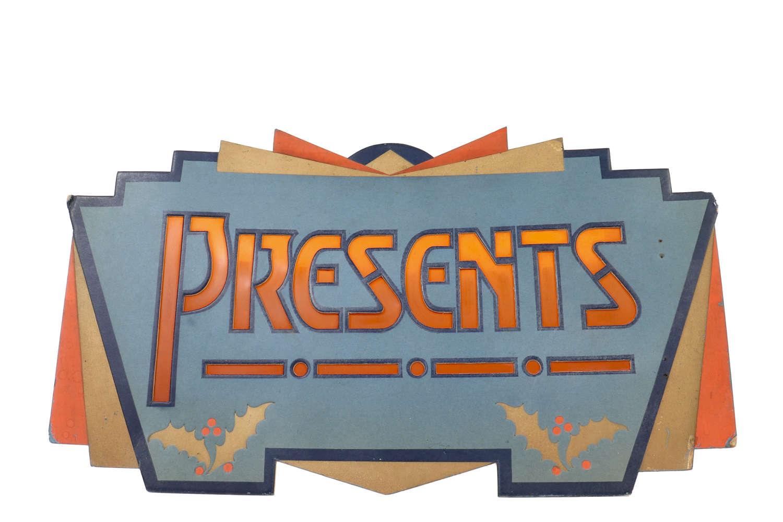 Presents - vintage shop display showcard