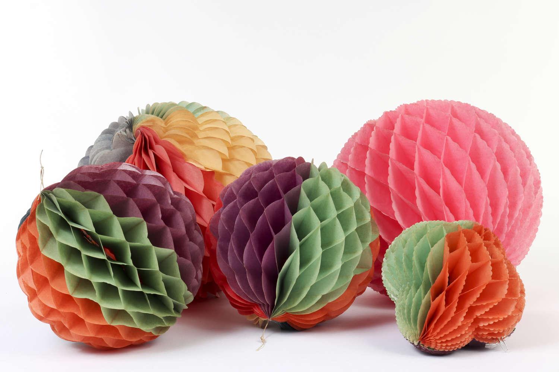 Five vintage honeycomb paper decorations