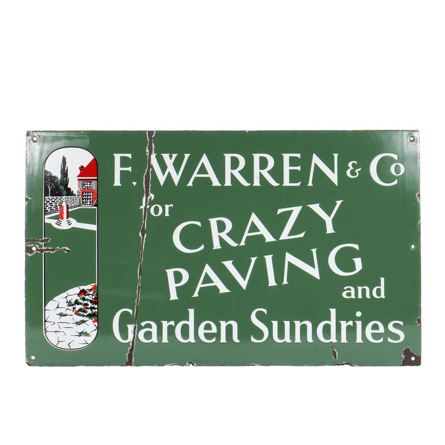 Original enamel advertising sign - 'Crazy Paving and Garden Sundries'