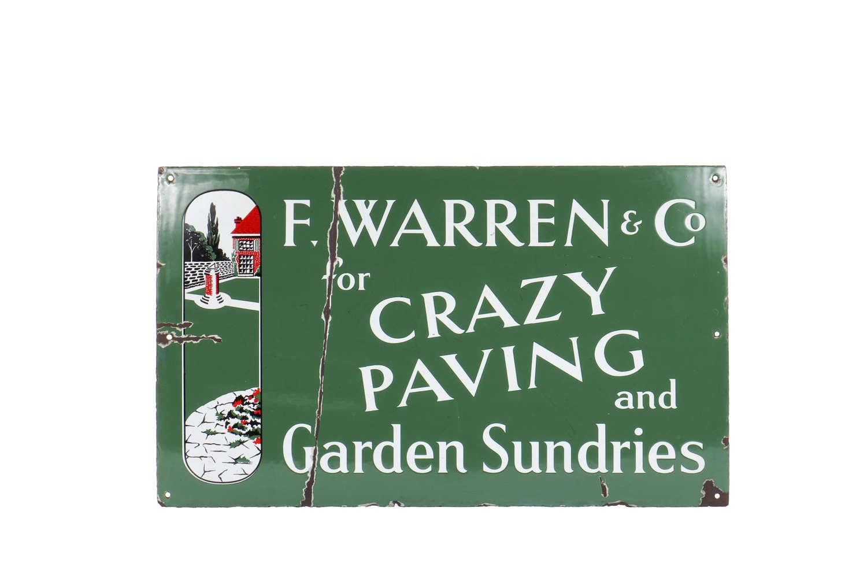 Original enamel advertising sign - 'Crazy Paving and Garden Sundries'
