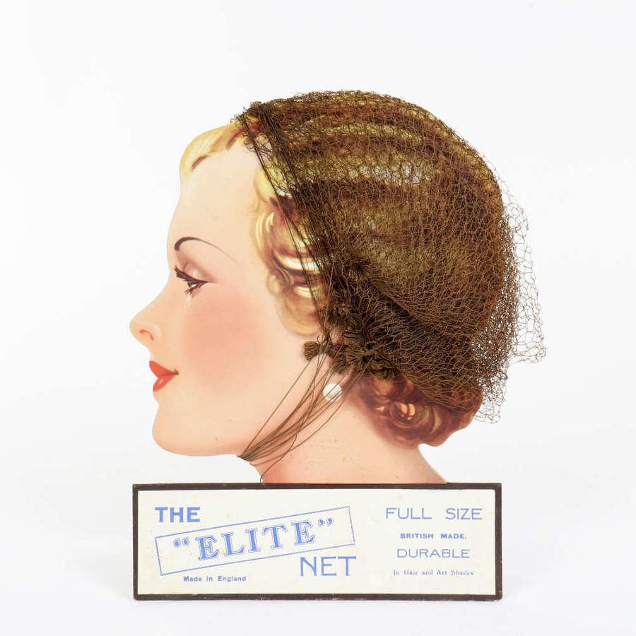Original advertising showcard for 'Elite' hair nets