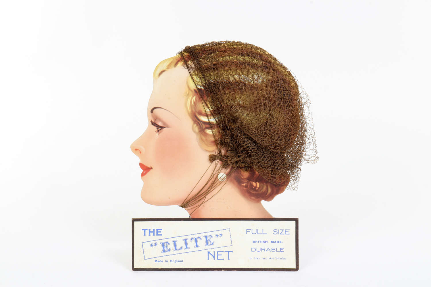 Original advertising showcard for 'Elite' hair nets