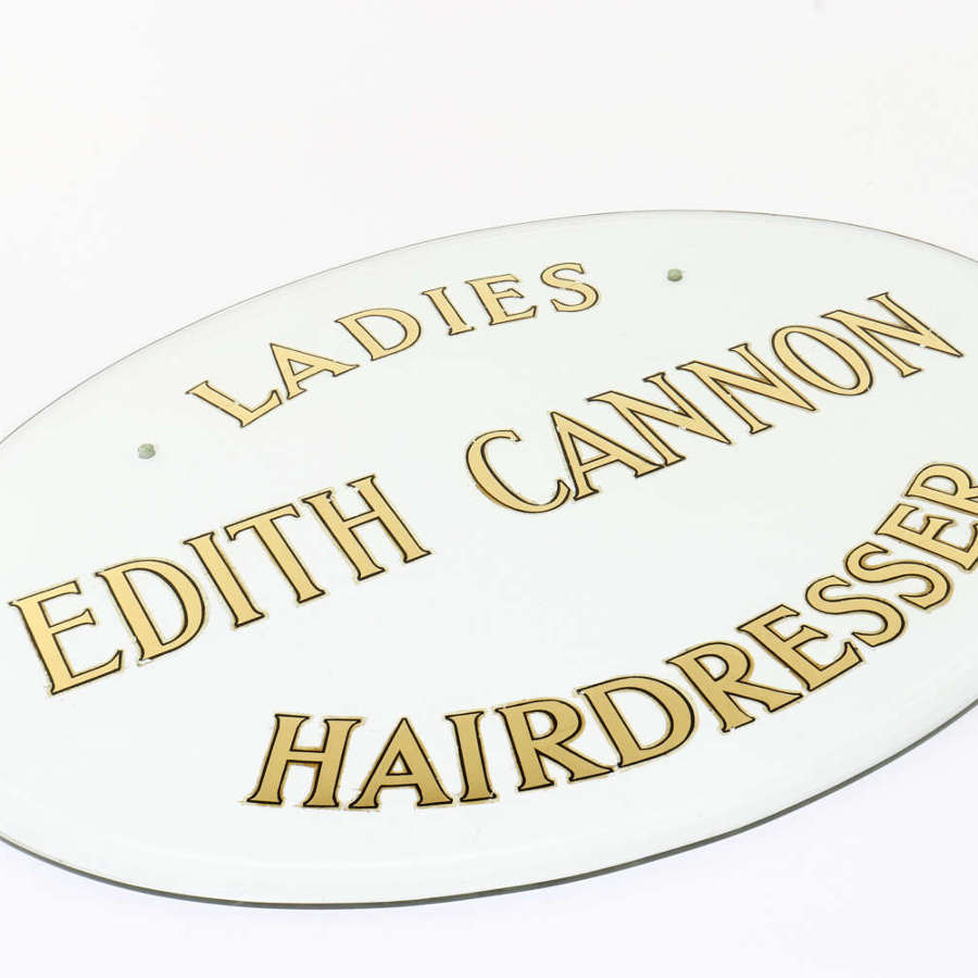 'Edith Cannon - Ladies Hairdresser' glass sign