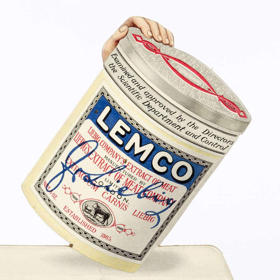 Original advertising showcard for 'Lemco'