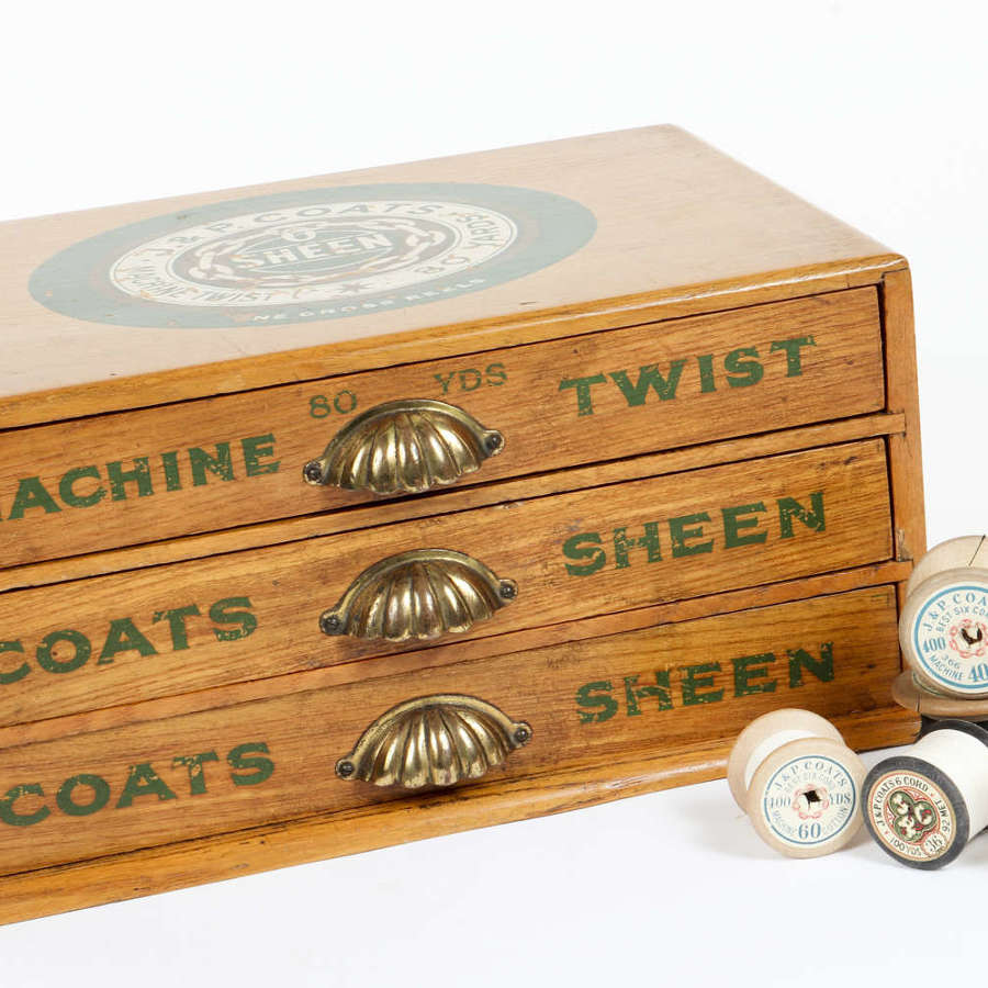 Vintage 'J & P Coats' haberdashery shop display drawers