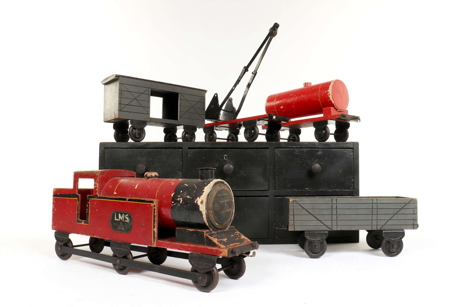 Large painted wooden train and carriages by Lines Bros Ltd.