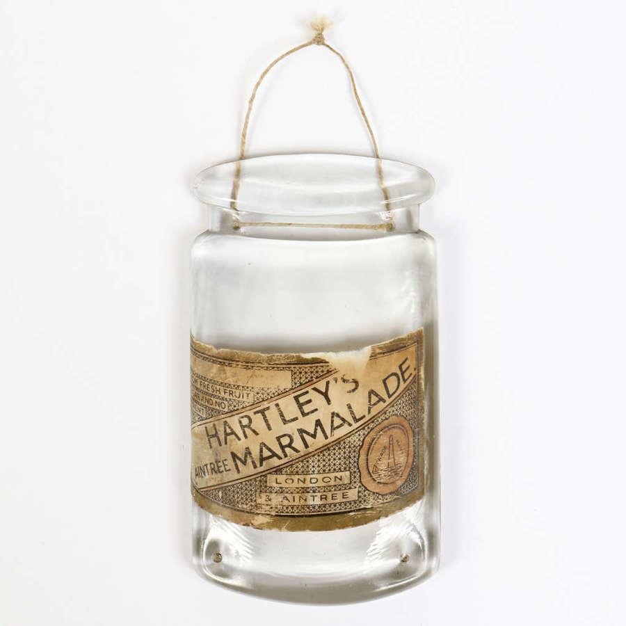 Rare 'Hartley's Marmalade' glass advertising sign