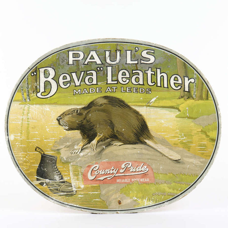 Original vintage advertising showcard for 'Paul's Beva Leather'