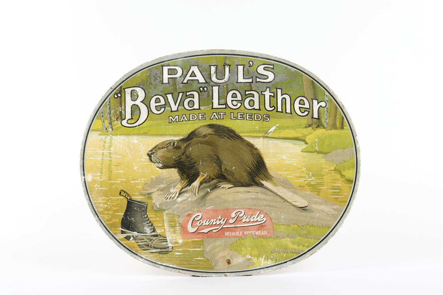 Original vintage advertising showcard for 'Paul's Beva Leather'