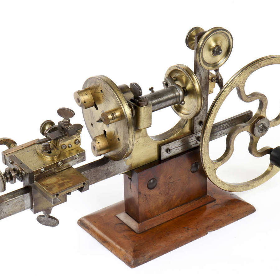 Early 20th century brass watchmaker's lathe