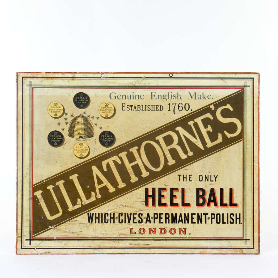 Original advertising showcard for Ullathorne's Heel Balls
