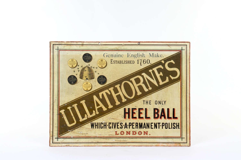 Original advertising showcard for Ullathorne's Heel Balls