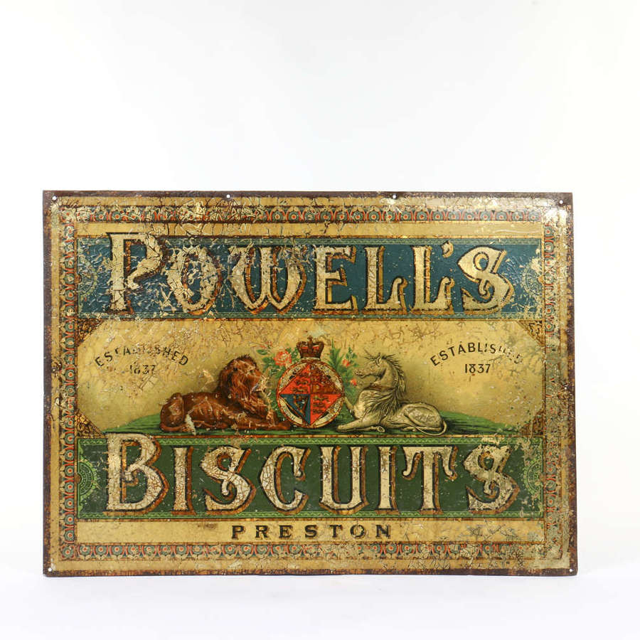 Original tin advertising sign for Powell's Biscuits