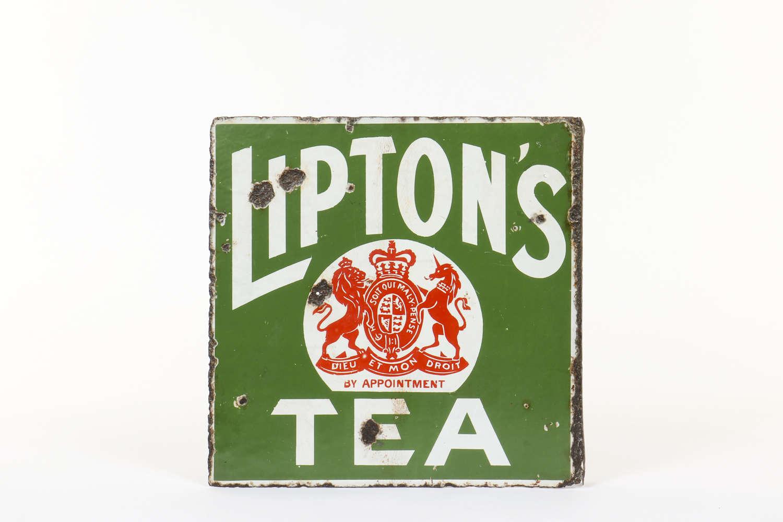 Original enamel advertising sign for Lipton's Tea