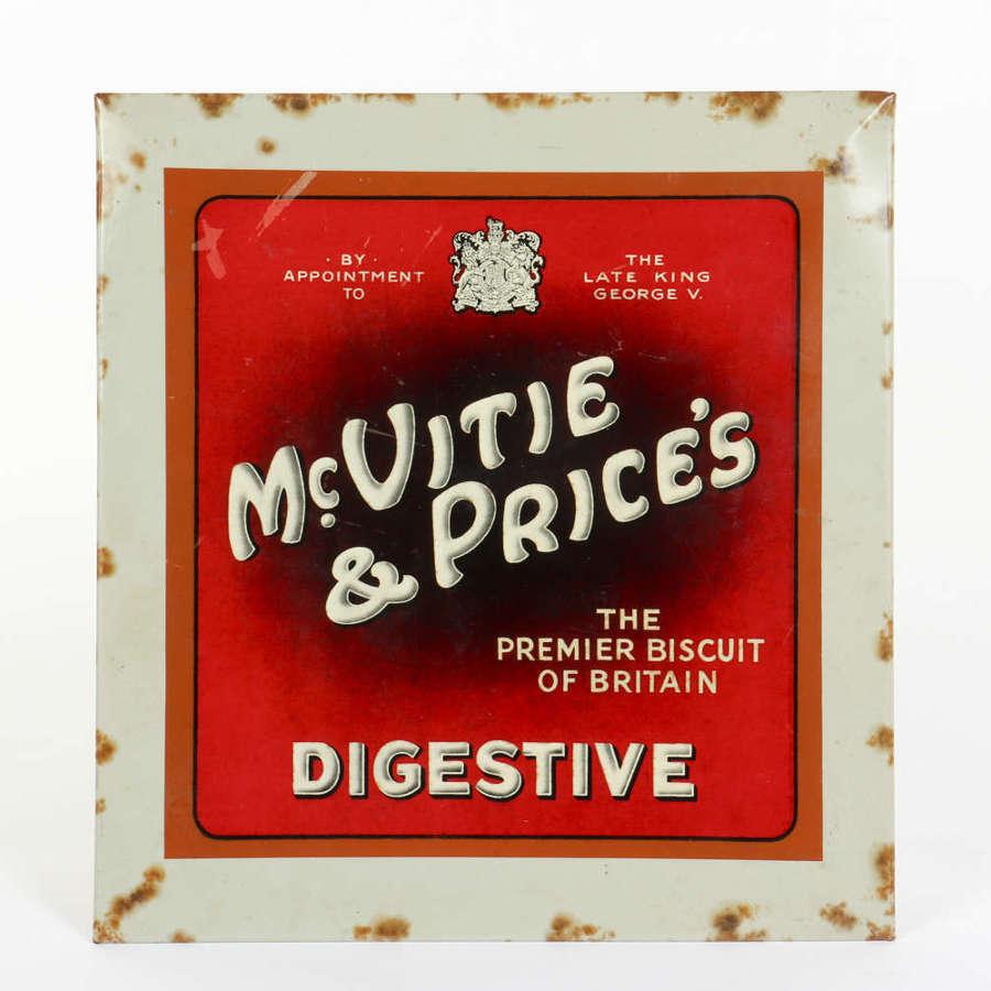 Original vintage advertising sign for McVitie & Price's Digestives.