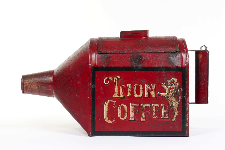 Lion Coffee toleware coffee bean dispenser