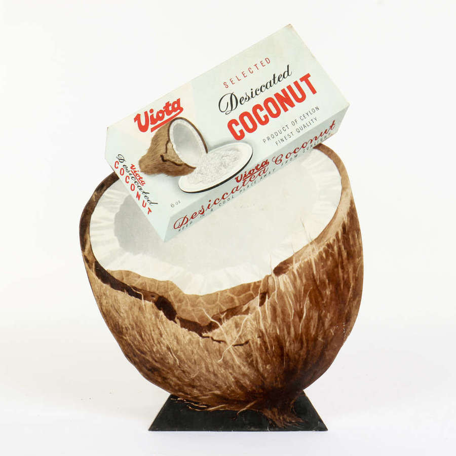 Original vintage advertising showcard for Viota Desiccated Coconut